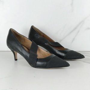 Corso Como Black Leather Kitten Heel Pumps 10 Heel